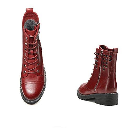 bottes d'hiver de mode pour dames en Europe et en Amérique avec casual dentelle ronde glissière latérale rugueuse vin rouge avec des chaussures métalliques chaussures à la main, plus de velours PU