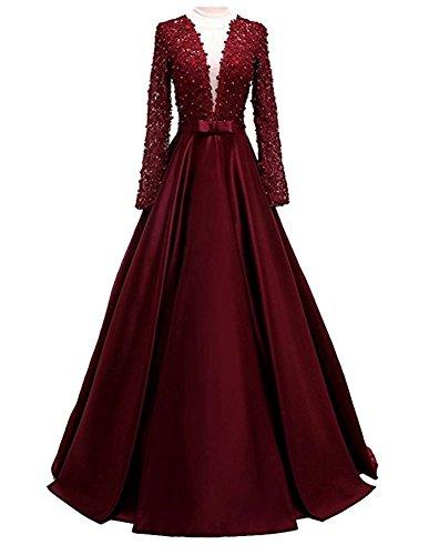 V Abendkleider Burgundy Bainjinbai mit Lang Ärmel Cocktail Ausschnitt Lange Brautjungfernkleider Damen Ballkleider ISqwp5
