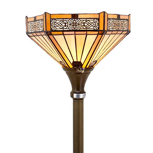 Floor Antique Tiffany Lamp - Tiffany Style Torchiere Light Floor Standing Lamp Wide 12 Tall 66 Inch Yellow Hexagon Stained Glass and Mission Style Lampshade for Living Room Bedroom Antique Table Set S011 WERFACTORY