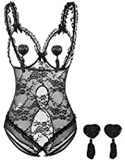 Women's Lace Teddy Cutout Lingerie Deep V Halter One Piece Babydoll Bodysuit Sexy Mesh Sheer Teddy Rompers Underwear