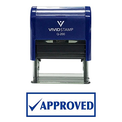 APPROVED w/ Check Office Self-Inking Office Rubber Stamp (Blue) - M