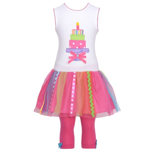 Rare Capris Pink Editions (Rare Editions White Hot Pink Birthday Cake Tulle Outfit Baby Girl 12M)