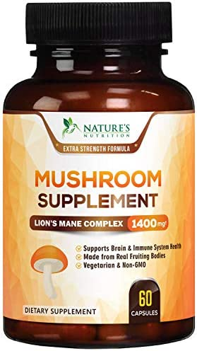 Mushroom Supplement with Lions Mane, Reishi, Chaga, Maitake – Daily Immune System and Nootropic Brain Support Formula – Made in USA – Natural Energy and Focus – 60 Capsules