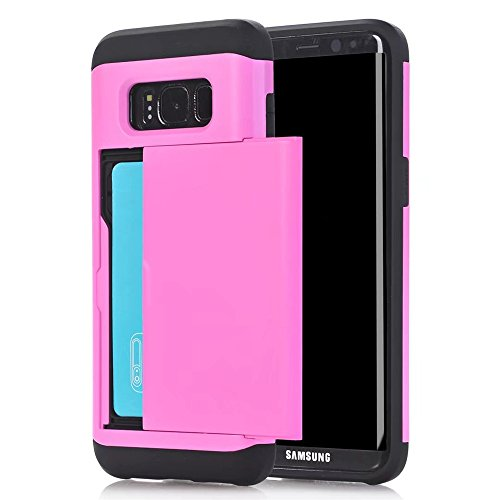 Aoker Galaxy S8 Plus Wallet Case  Sliding Card Holder  Hard Shell Skin Flexible Soft Tpu Rubber Hybrid Impact Resistant Wallet Cover With Credit Card Holder For Samsung Galaxy S8 Plus  Pink