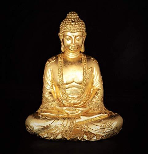 Buddha-Figur, gold/vergoldet mit Blattmetall
