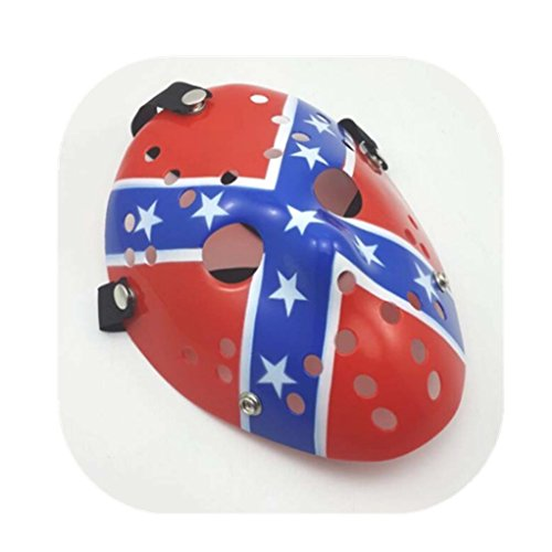 Cosplay American Flag Jason Halloween Costume Thicken mask Show Party Decoration Props Red Blue ()