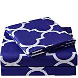 Mellanni Bed Sheet Set King-Imperial-Blue - Brushed Microfiber Printed Bedding - Deep Pocket, Wrinkle, Fade, Stain Resistant - 4 Piece
