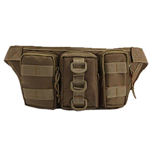Ezyoutdoor Ourdoor Sports Waist Bag zipper Fanny Chest Pack with Cell Phone Pouch & Automatic Umbrella & Small Personal Stuffs for Both Men and Women Use khaki