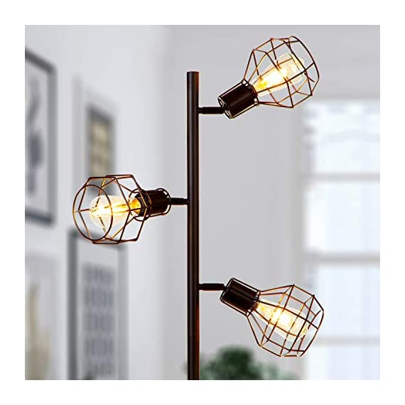 Brightech Robin - Industrial Tree Floor Lamp with 3 Cage Heads & Vintage Edison Bulbs - Rustic, Farmhouse Pole Light for… - INDUSTRIAL, FREE STANDING LAMP MATCHES MANY DECORS - Match your rustic or farmhouse living room with this vintage factory / warehouse looking upright lamp. The Brightech Robin mixes a bit of steampunk design with modern clean lines and minimalism - no bulky generic shades here! COMPLIMENT GETTING, TREE POLE LAMP WITH 3 BRIGHT HEADS: Enjoy the admiration of guests! The three lights, reminiscent of a tree's branches, reach outward up to 11 inches, and measures 5 inches at their widest. They attach to the poll at 61, 54, and 47 inches from the floor, so you can use one or two for reading or all three for room lighting. The flexible, adjustable swivel joints let you point light right where you need. EASY TO BUILD, WARM ACCENT LIGHT FEATURES HEAVY BASE SO IT WON'T EASILY TIP AND IS KID & PET SAFE: Assemble the lamp in just a few minutes, even if you're not handy. Once this stand up light is built, enjoy the soft room lighting that create ambience without blinding. The heavy base also gives the lamp stability so it is unlikely to tip, making it safe around children and pets. Also, the LED bulbs don't get hot, avoiding accidental burns if you touch the light. - living-room-decor, living-room, floor-lamps - 41U0ClP0aqL. SS570  -