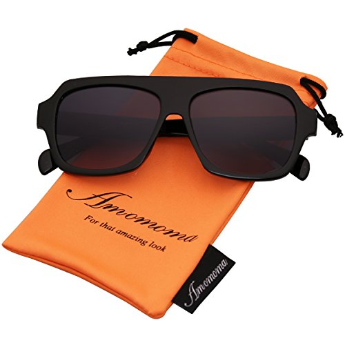 Amomoma Men's Women's Fashion Flat Top Square Sunglasses Retro Shades AM2004 Black Frame/Grey - Shades For Sale