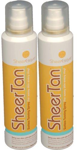 SheerTan Autobronzants - 2 Spray Tanning Pak - Auto-Bronzant à la maison pour le bronzage intérieur parfait. Baguette Vendu avec Starter Set Seulement
