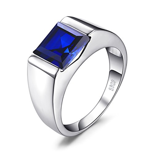 (JewelryPalace Men's Square 3.3ct Created Blue Sapphire Engagement Ring Solid 925 Sterling Sliver Size 9)