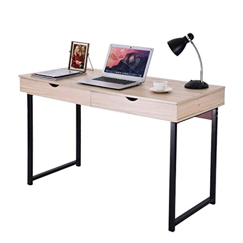 Beyonds Computer Desk Study Work Table, 47 inch Multipurpose Writing Laptop Desk Workstation with 2 Drawers for Home Office