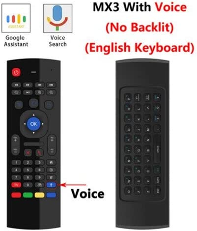 Color: EN mic no backlit Calvas MX3 MX3-L Backlit Air Mouse T3 Smart Voice Remote Control 2.4G RF Wireless Keyboard For X96 mini KM9 A95X H96 MAX Android TV Box