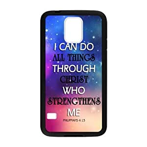Personalized I can do all things through Christ who strengthens me - Philippians 4:13 - Bible verse Durable Rubber TPU Laser Technology Back Case For Samsung Galaxy S5 by icecream design