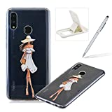 Rubber Case for Huawei Honor 10 Lite,Herzzer Premium Stylish [Attractive Girl Printed] Scratch Resistant Ultra Thin Soft Gel Silicone Transparent Clear Crystal Slim Fit TPU Back Cover