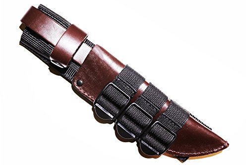 "Molle Knife Sheath Adapter Holder/Attaching Knife to M.O.L.L.E. Webbing/Holds Ka-bar Bowie Kydex Leather Sheaths/Molle Sheath Carrier for Fixed-Blade Knifes/Black Color/Fits Sheaths from 4"" up to 12"""