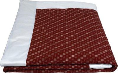 "J-Life Authentic Traditional Japanese Kakefuton (Kakebuton) Silk-Filled Comforter - Single Size (66"" x 92"") - Kasuri Red"