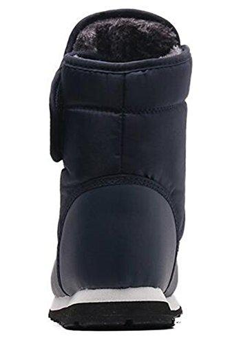 Loop Booties Winter Down Men's Flat and Fleece IDIFU Boots Snow Hook Blue Women's Lined Unisex 8pzOwq