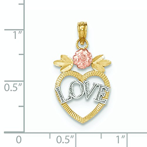 Tri-color 14 carats Love In Heart Pendentif JewelryWeb