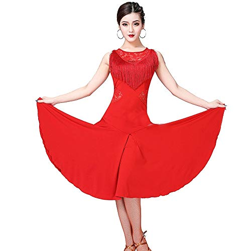 Women's Dance Party Dress Women Latin Tango Rumba Dance Dress Sleeveless Floral Lace Splice Tassels Ballroom Dancewear Adult Training Performance Competition Dance Costumes Cocktail Sport Dress Costum]()