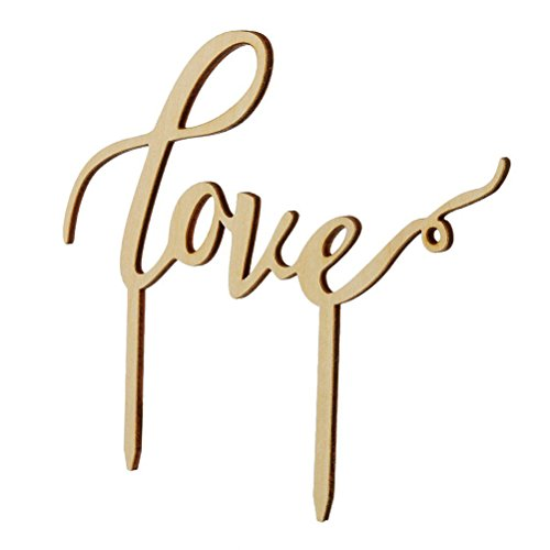 Pixnor Love Cake Topper Love Sign Wood for Wedding Birthday Party