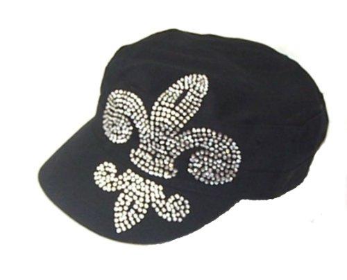 Large Fleur De Lis Rhinestone Flattop Vintage Black Hat (T-shirt Hat Vintage Top)