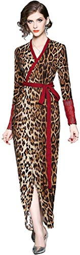 Ababalaya Women's Elegant V-Neck Long Sleeve Leopard Split Maxi Bodycon Evening Dress Belted,Brown,Tag S = US Size 2-4
