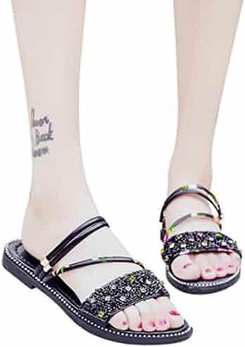 bbb324e45df86d vermers Clearance Sale Fashion Women Beach Shoes - Sequins Flat Heel Anti  Skidding Sandals Slipper