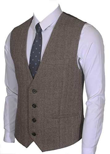 4Buttons Wool Herringbone / Tweed Business Suit Vest (L, Herringbone brown) ()