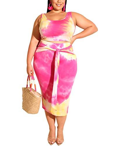 Womens Sexy Plus Size 2 Piece Midi Dress Outfits, Sexy Tie Dye Print Tank Crop Tops Bodycon Tie Pencil Skirts Set (Rose red, XXXXL) ()