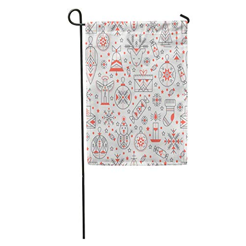 Semtomn Garden Flag Christmas Outlined Holiday and Winter Signs Black Red Color Palette Home Yard House Decor Barnner Outdoor Stand 12x18 Inches Flag ()