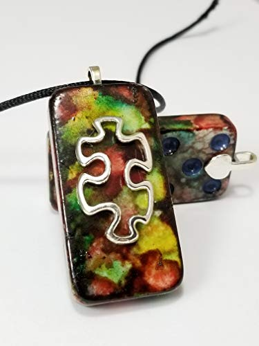 (Autism Necklace Domino Pendant Abstract Art Jewelry Gifts For Mom Teacher's 18-20 Inch)