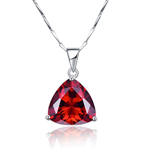BONLAVIE 10.1ct Women's Created Red Garnet January's Birthstone Pendant 925 Sterling Silver Necklace ()