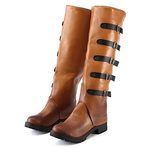 e moda stivali stivali da retro stivali con alto donna Stivali ginocchio tacco da con in alla fibbia pelle al Marrone neve donna Vovotrade da YfAHw0x