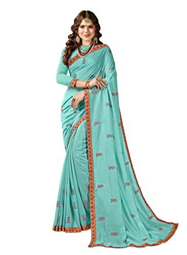 (Indian Bollywood Designer Ethnic Wedding Party Wear Georgette Saree Sari S6356 Turquoise Blue)