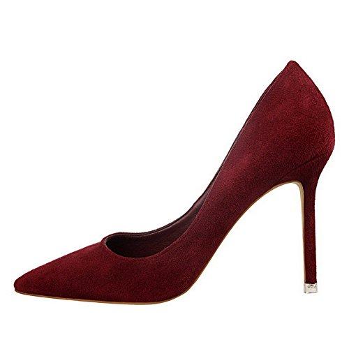 Allhqfashion Mujer Imitado Gamuza Con Cordones Zapatos De Tacón Alto Zapatos De Tacón Alto-zapatos