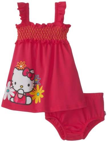 Hello Kitty Baby Baby-Girls Infant 2 Piece Dress Set withTop Stitch Smocking, Fuchsia Purple, 18 Months