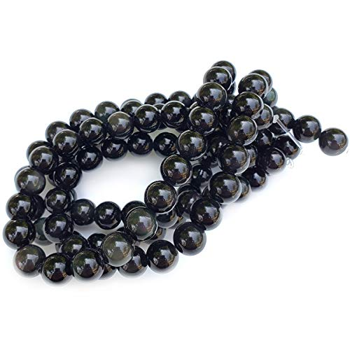 Chengmu 8mm Rainbow Eye Obsidian Beads for Jewelry Making Natural Gemstone Round Loose Spacer Beads Assortments Supplies Accessories for Bracelet Necklace with Elastic Cord