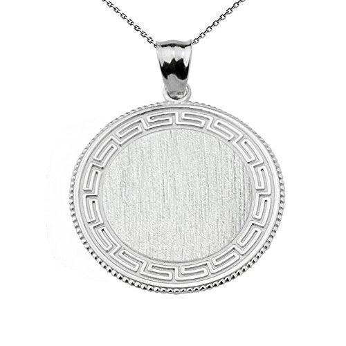 Greek Key Silver Engravable Round Pendant Necklace, 22