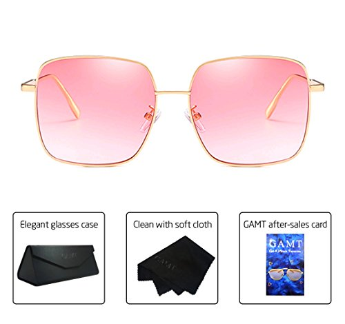 GAMT Square Polarized Sunglasses for Women and Men Fashion Designer Retro Glasses UV 400