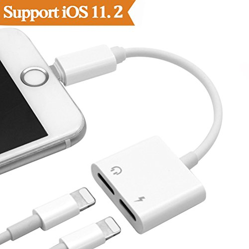 2 in1 Lightning Audio +Charger Adapter for iPhone X 8/7/6/Plus Converter to Headset Earphone.Headphone Audio Splitter and Charging Adaptor(Support Audio + Charge +Compatible iOS 10.3/11or Later)