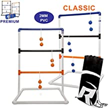 Ladder Toss - Ladder Ball Toss Game - PREMIUM & CLASSIC Versions Available - For Adults, Kids, Family - Outdoor Ladders Set with Canvas Bag, Weighted Bolos, and Sand Weighted PVC Piping - Backyard Games
