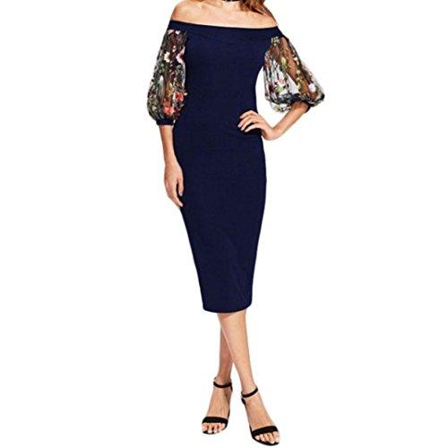 e5f1a79b5bf8 ☀️Frauen sexy Spitze bestickte Kleid VENMO Schulterfreies Halbarm Kleid  Prinzessin Kleid Sommerkleid Damen Lang High