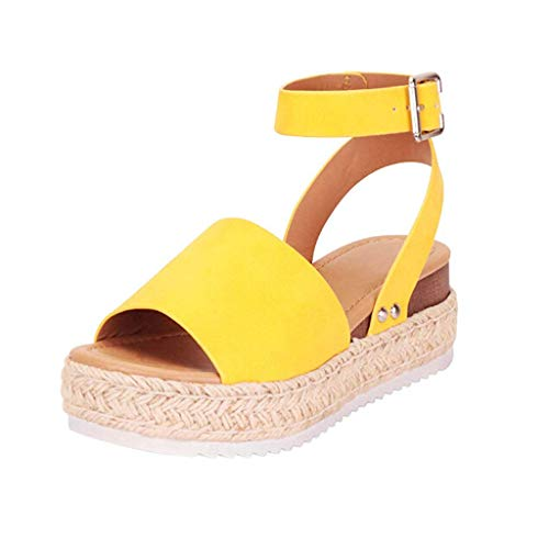 (SSYUNO Women's Platform Sandals Espadrille Wedge Ankle Strap Studded Open Toe Sandals Peep Toe Beach Travel Flat Shoes Yellow)