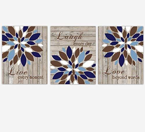Navy Blue Brown Live Laugh Love Dahlia Mums Flower Burst Wall Decor Prints Bedroom Living Room Rustic Farmhouse SET OF 3 UNFRAMED PRINTS ()