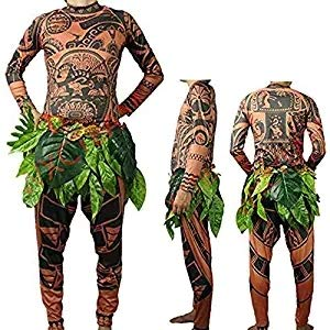 Moana Maui Tattoo T Shirt/Pants Halloween Adult Mens Women Cosplay (Brown, L)