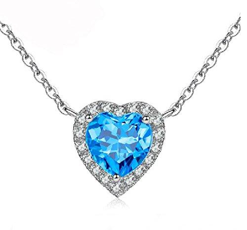 SiBeXu Fashion 18K White Gold Plate Heart Aquamarine Sky Blue with Gemstone Pendant Nekclace Chain for Women (Gold Plate 18ct White)