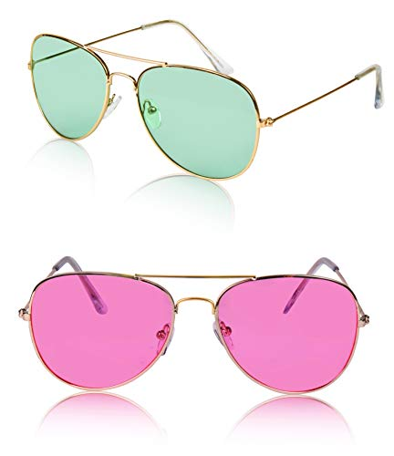 Sunny Pro Aviator Sunglasses Colored Tinted Lens Glasses Metal UV400 Protection (2 pack Green/Pink)