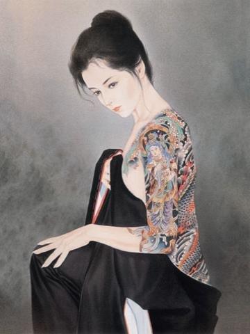 Tattoo Japanese Lady Wall Scroll ()